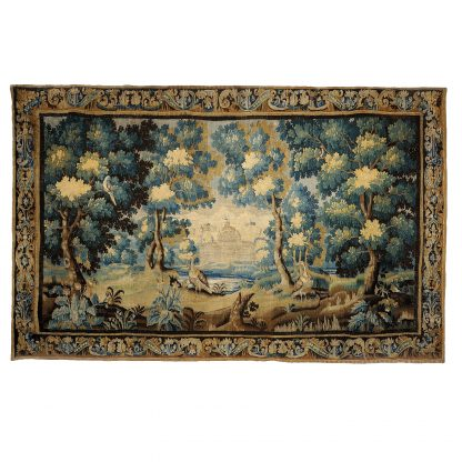 """13'11""""W x 9'H Hand-woven Antique circa 1680 Wool French Gobelins Weave LOUIS XIV 17TH CENTURY VERDURE TAPESTRY Wall Hanging 12980887"""