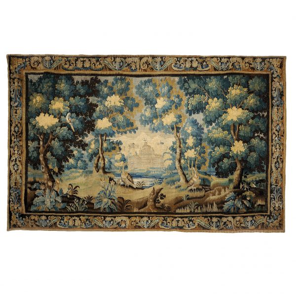 "13'11""W x 9'H Hand-woven Antique circa 1680 Wool French Gobelins Weave LOUIS XIV 17TH CENTURY VERDURE TAPESTRY Wall Hanging 12980887"