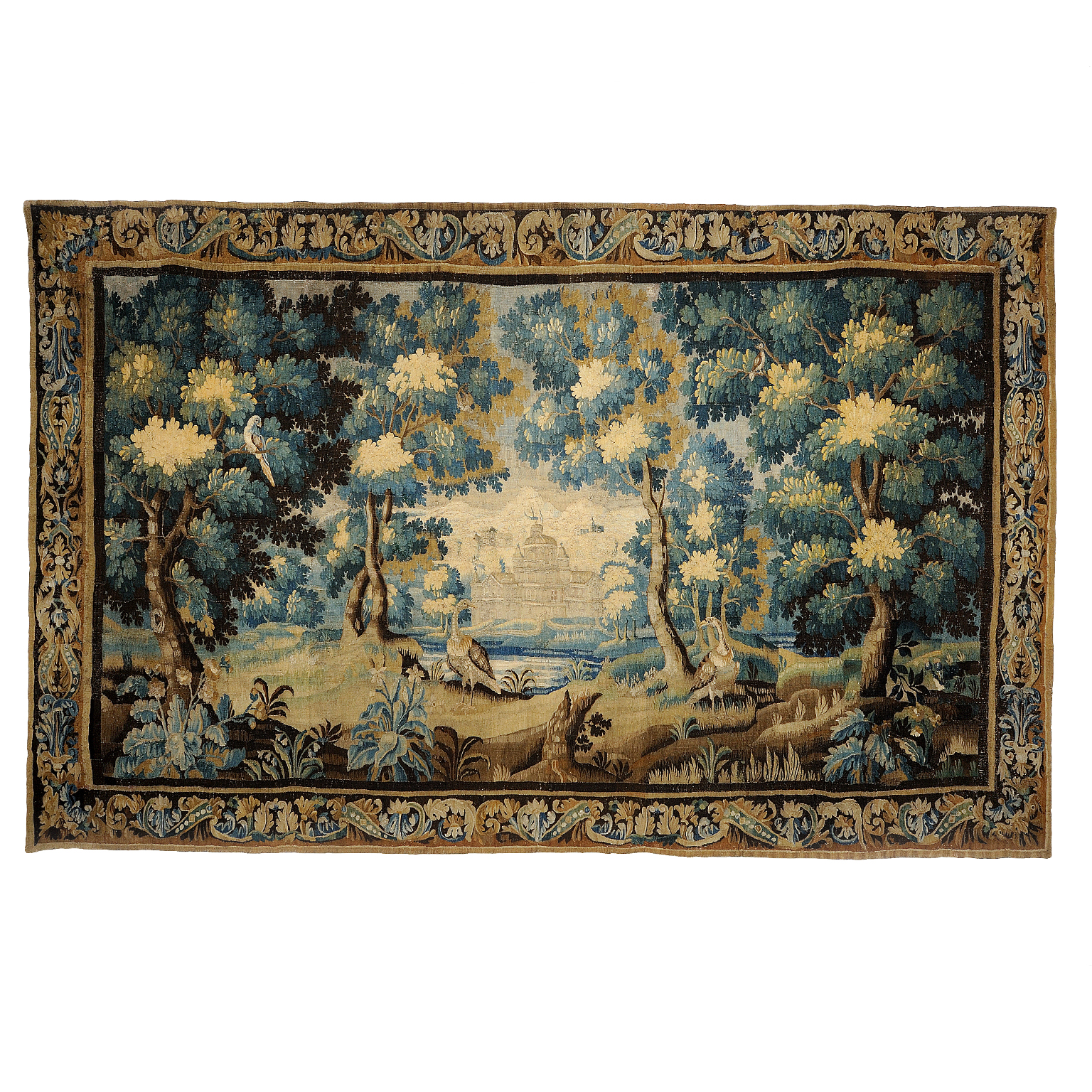 13'11″W x 9'H Hand-woven Antique circa 1680 Wool French Gobelins Weave LOUIS XIV 17TH CENTURY VERDURE TAPESTRY Wall Hanging 12980887