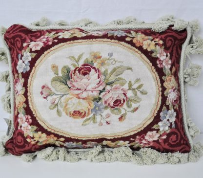 "12"" x 16"" Handmade Wool Needlepoint Petit Point Rose Garland Cushion Cover Pillow Case 12980889"
