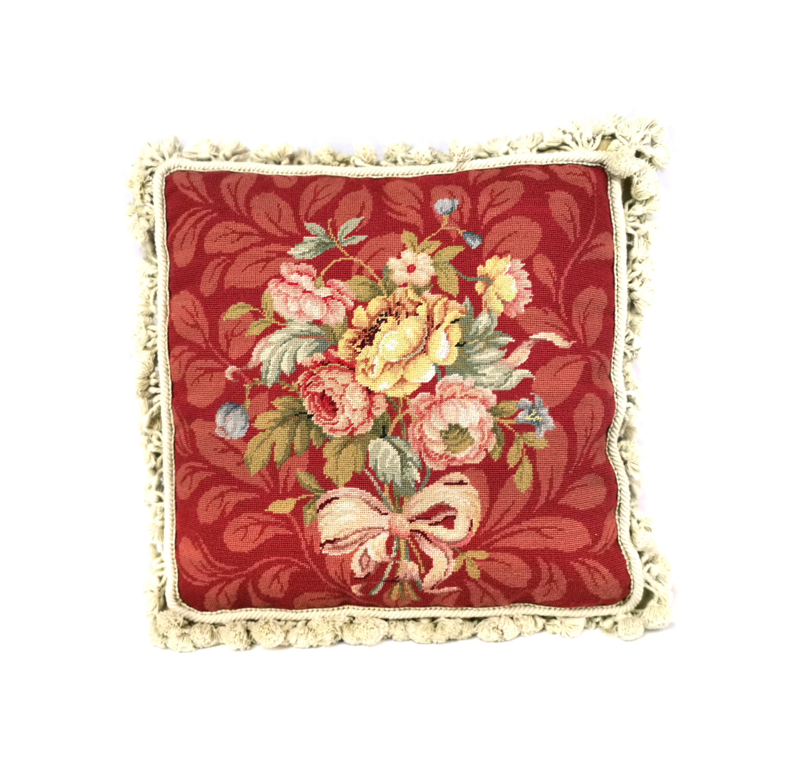16″ x 16″ Handmade Wool Needlepoint Petit Point Bouquet of Roses with Ribbon Red Cushion Cover Pillow Case 12980888