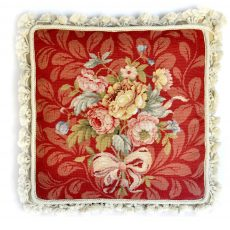 "16""x16"" Handmade Wool Needlepoint Petit Point Bouquet of Roses with Ribbon Red Cushion Cover Pillow Case 12980888"