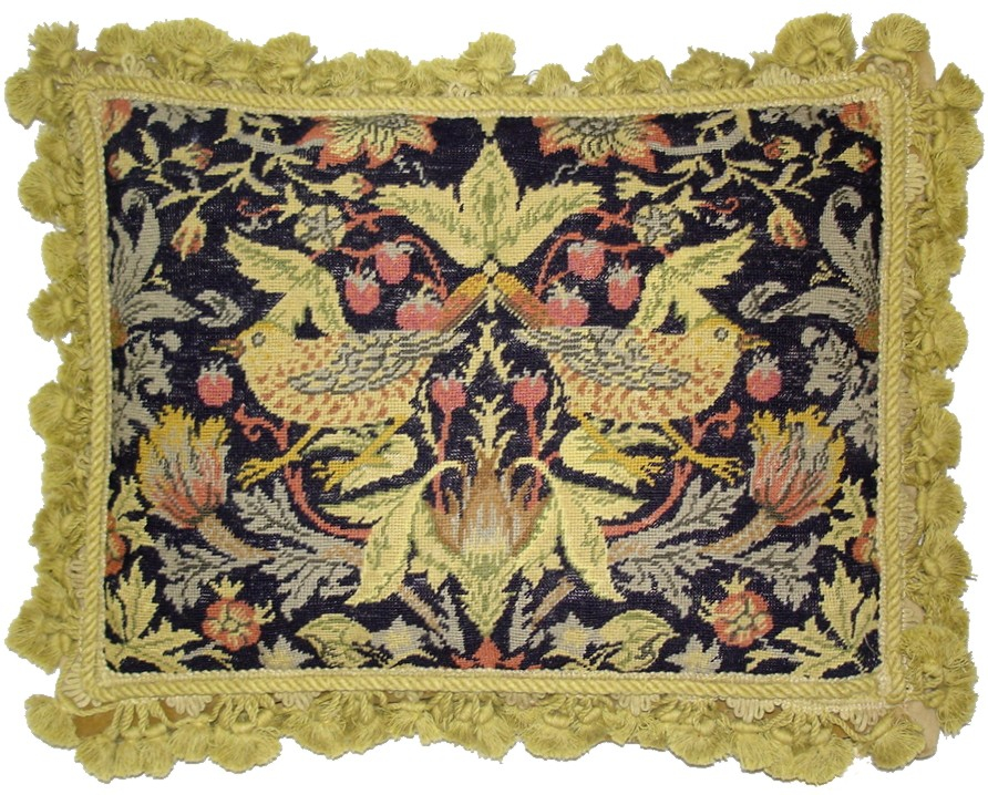 14″ x 18″ Handmade Wool Needlepoint Petit Point William Morris Yellow Birds Pillow 12980890