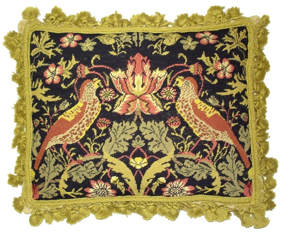 14 x 18 Handmade Wool Needlepoint Petit Point William Morris Yellow Birds Pillow 12980891