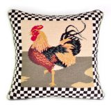 "16"" x 16"" Handmade Wool Needlepoint Country Rooster Cushion Cover Pillow Case 12980894"
