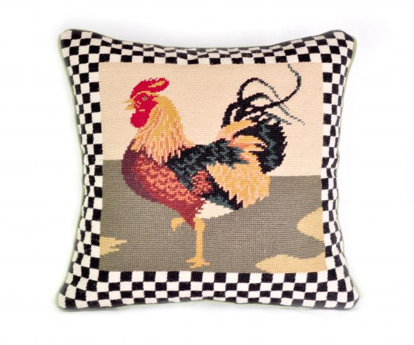 16 x 16 Handmade Wool Needlepoint Country Rooster Cushion Cover Pillow Case 12980894