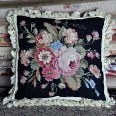 "16"" x 16"" Handmade Wool Needlepoint Roses Black Cushion Cover Pillow Case 12980899"