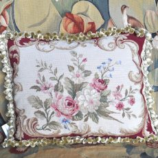 16 x 20 Handmade Wool Needlepoint Roses Cushion Cover Pillow Case with Tassels 12980893