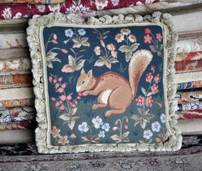 "18""x18"" Handmade Wool Needlepoint Petitpoint Squirrel Cushion Cover Pillow Case 12980897"