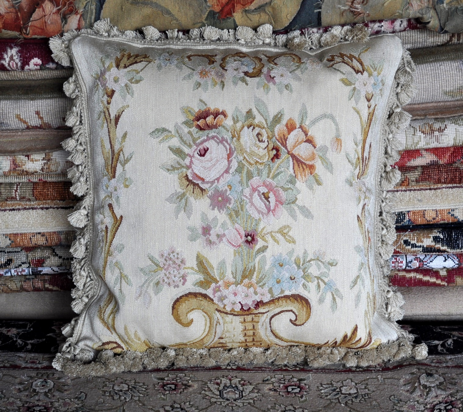 20″ x 20″ Antique Reproduction Handmade Gobelins Tapestry Weave Wool/Silk Aubusson Pillow Cover 12980898