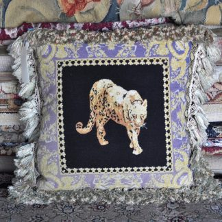 "20"" x 20"" Versace Limited Edition Handmade Wool Needlepoint Petitpoint Leopard Black Blue Pillow 12980900"