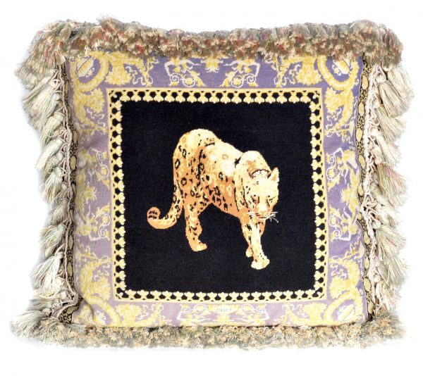 "20""x20"" Versace Limited Edition Handmade Wool Needlepoint Pettipoint Leopard Black Blue Pillow Cover 12980900"