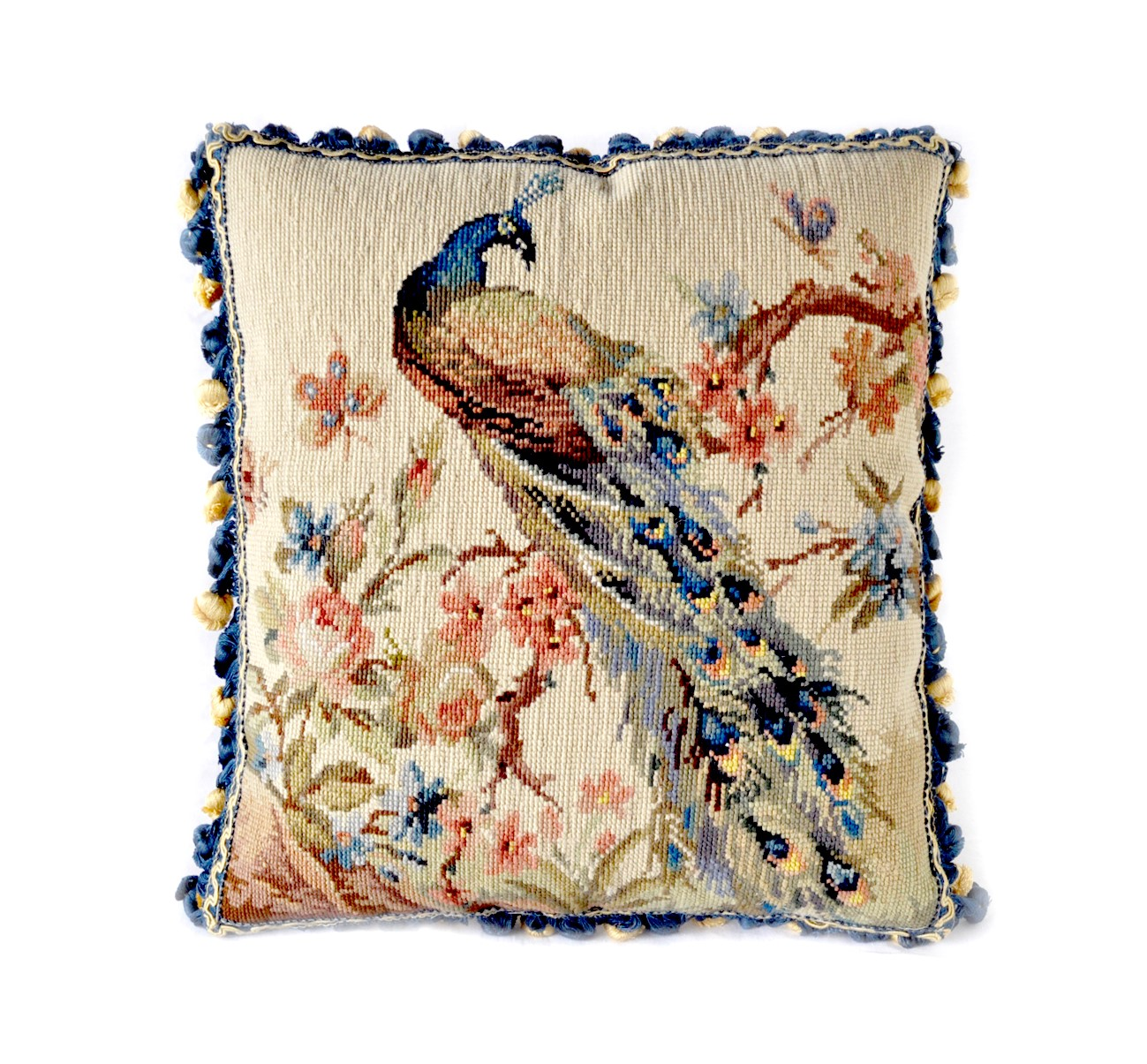 16″x16″ Needlepoint Peacock on Plum Pillow Cover 12980904