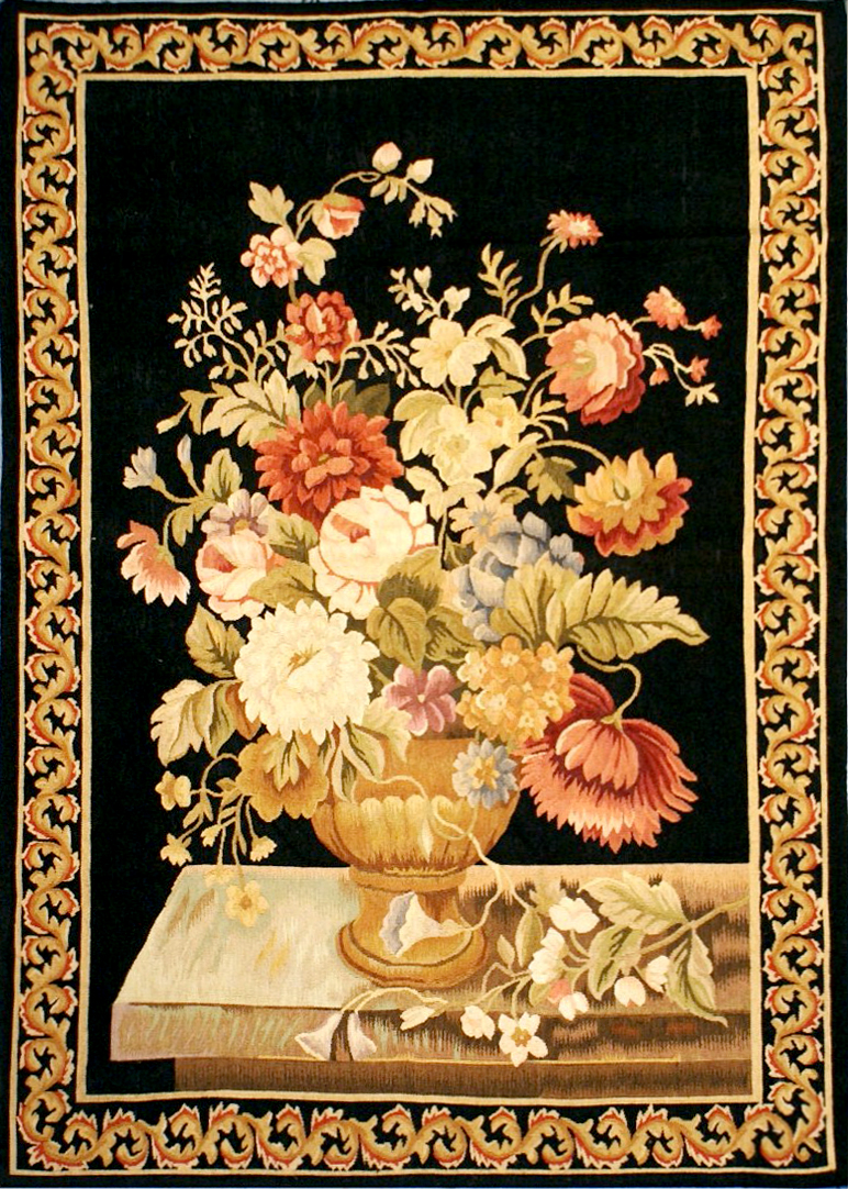 2'6″W x 4'2″H Baroque Still Life Handwoven Aubusson Tapestry 12980915