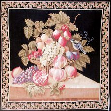 3'W x 3'H Baroque Still Life Handwoven Aubusson Tapestry 12980916