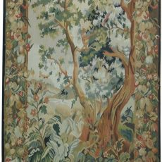 3′10″W x 6′3″H Verdure Hand-woven French Aubusson Tapestry 12980967