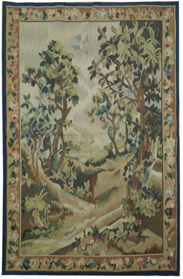 3′4″W x 5′1″H Verdure Hand-woven French Aubusson Tapestry 12980930