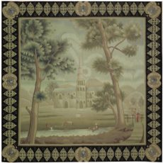 4′7″W x 4′9″H French Farmland Country Scene Hand-woven French Aubusson Tapestry 12980960