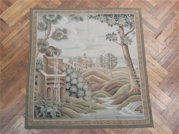 4′8″W x 5′H Paysage Village Hand-woven French Aubusson Tapestry 12980932