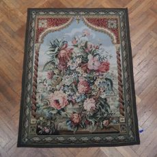 4′W x 5′5″H Still Life Hand-woven French Aubusson Tapestry 12980955