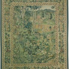 5′10″W x 7′3″H Village in the Woods Hand-woven French Aubusson Tapestry 12980939