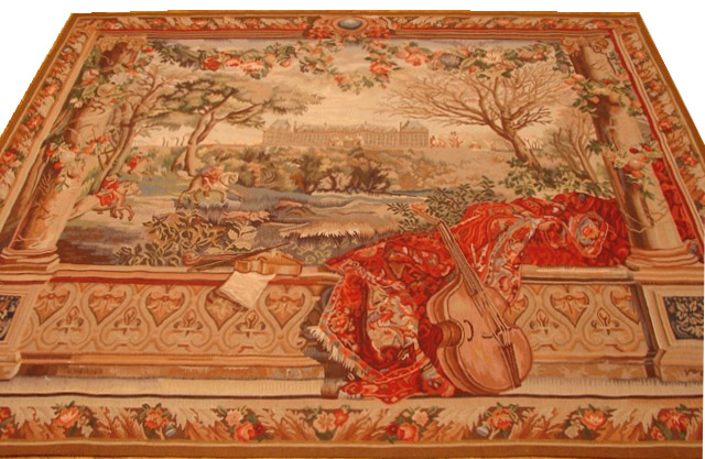 5′11″W x 5′2″H Balcony View Hand-woven French Aubusson Tapestry 12980928