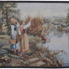 5′3″W x 4′H Hand-woven French Aubusson Tapestry 12980926