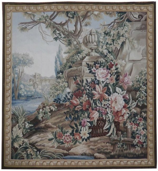 5′3″W x 5′9″H Hand-woven French Aubusson Tapestry 12980927