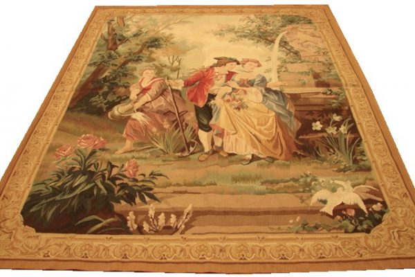 5′5″W x 7′1″H Hand-woven French Aubusson Tapestry 12980949