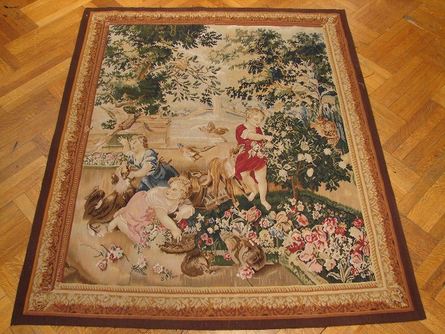 5′W x 6′1″H Gardening Hand-woven French Aubusson Tapestry 12980924