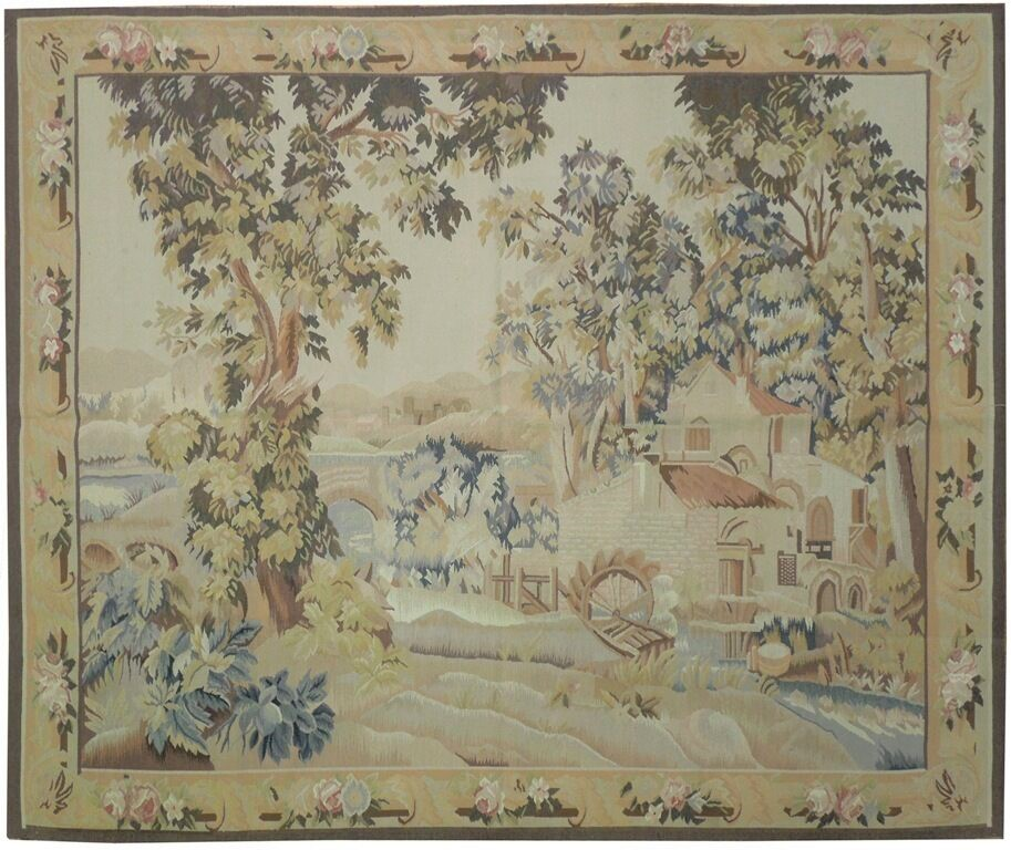 6′2″W x 5′3″H Riverside Cottage Hand-woven French Aubusson Tapestry 12980931