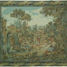 6′2″W x 5′4″H Lovers Hand-woven French Aubusson Tapestry 12980938