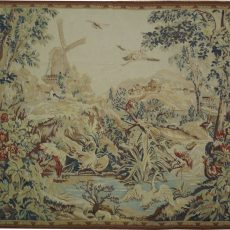 6′2″W x 5′4″H Windmill Hand-woven French Aubusson Tapestry 12980963