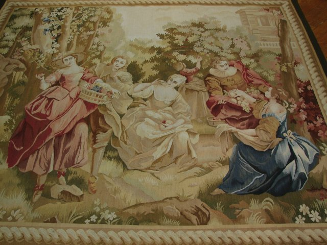 6′2″W x 5′5″H Hand-woven French Aubusson Tapestry 12980923