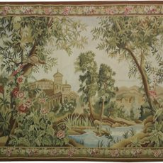 6′4″W x 4′8″H Verdure Hand-woven French Aubusson Tapestry 12980941