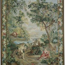 6′5″W x 8′9″H Rendezvous Hand-woven French Aubusson Tapestry 12980958