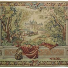6′6″W x 4′9″H Balcony View Hand-woven French Aubusson Tapestry 12980937