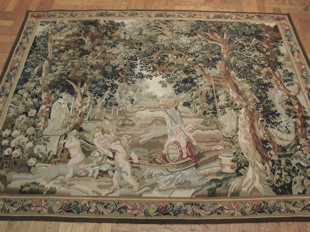 6′6″W x 5′3″H Verdure Hand-woven French Aubusson Tapestry 12980934
