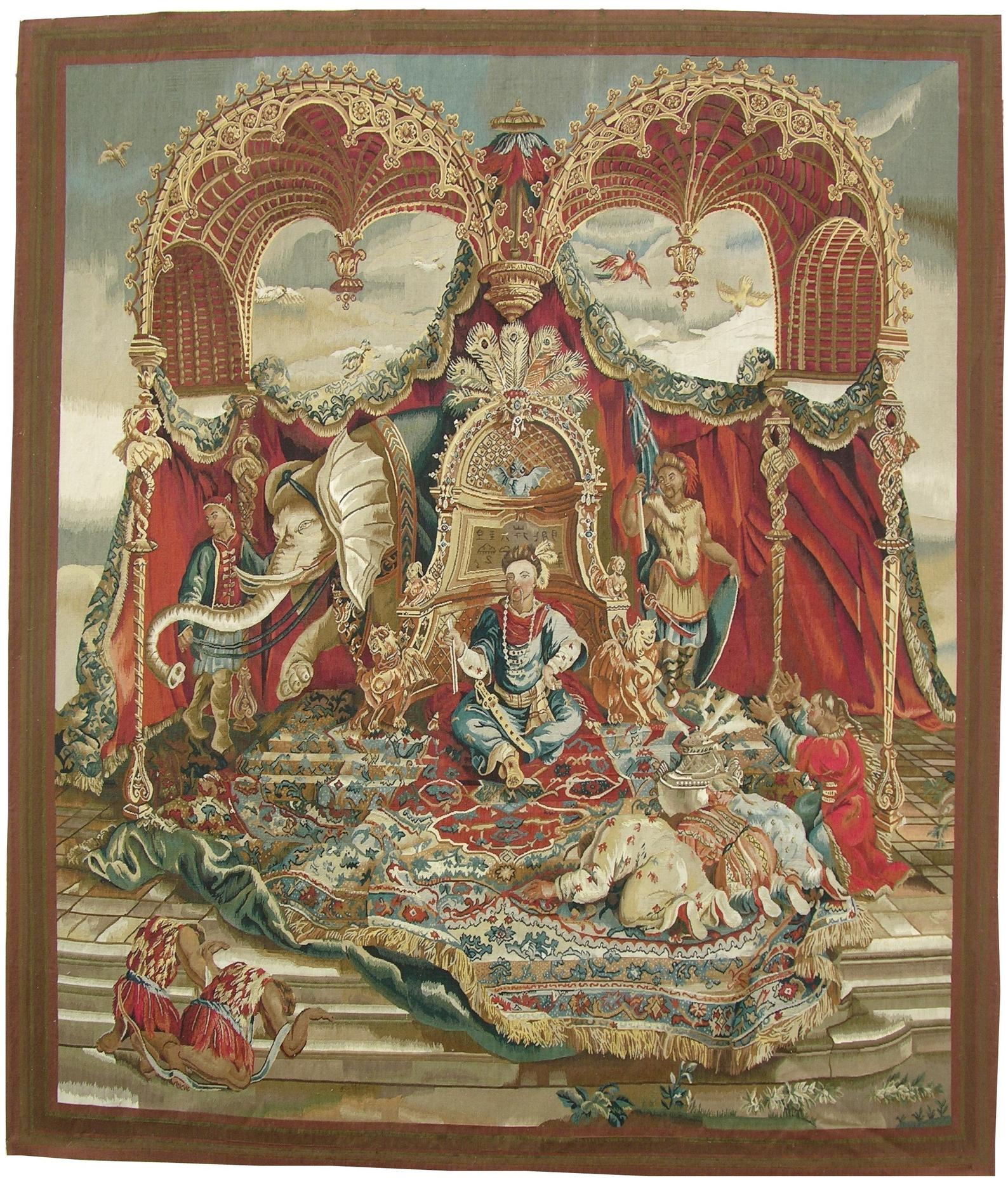 6′9″W x 7′9″H The Audience of the Emperor Handwoven Aubusson Tapestry 12980917 (1)
