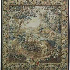 6′W x 6′6″H Rendezvous Hand-woven French Aubusson Tapestry 12980962