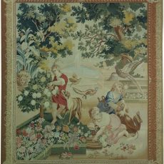 6′W x 7′H Gardening Hand-woven French Aubusson Tapestry 12980935