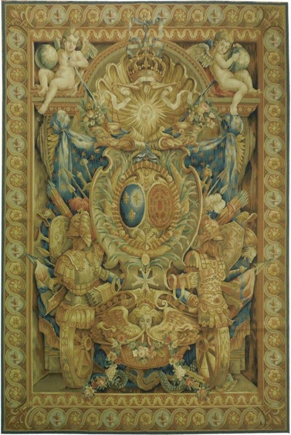 6′W x 9′H Coat of Arms Handwoven Aubusson Tapestry 12980925