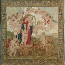7′10″W x 8′H Cherubs Hand-woven French Aubusson Tapestry 12980919