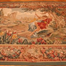 7′2″W x 6′5″H Lovers on a Swing Hand-woven French Aubusson Tapestry 12980948