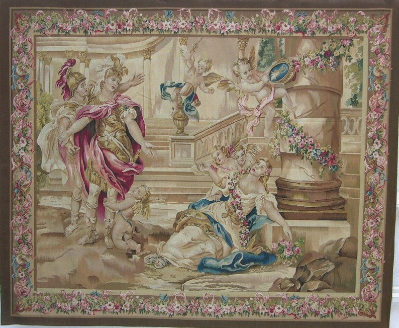 7′4″W x 6′H Hand-woven French Aubusson Tapestry Wall Hanging 12980918