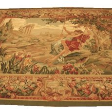 7′5″W x 6′2″H Lovers on a Swing Hand-woven French Aubusson Tapestry 12980950