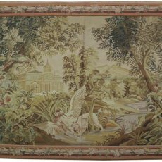 7′W x 4′6″H Verdure Hand-woven French Aubusson Tapestry 12980961