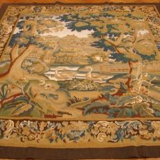 7′W x 6′3″H Swan on a Lake Hand-woven French Aubusson Tapestry 12980942