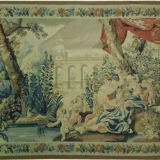 8′5″W x 5′8″H Angels Hand-woven French Aubusson Tapestry 12980959