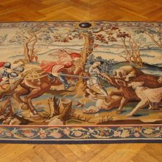 8′9″W x 6′1″H Wild Boar Hunting Hand-woven French Aubusson Tapestry 12980944